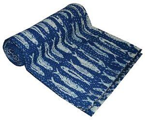 Indian Blue Reversible Fish Print Kantha Quilt Handmade Bedspread Throw Gudari