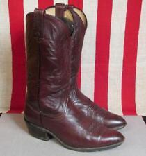 Vintage Dan Post Leather Cowboy Boots Western Dark Brown Size 9 R Great Shape