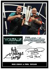 042. Rob Cross & Phil Taylor Darts Signed Reproduction Print Size A4