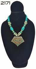 New Handmade Costume Boho Turquoise & Brass Pendant Tribal Chunky Bead Necklace