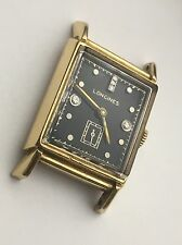 Mens 1947 Longines 14K Solid Gold DIAMONDS Dial Retro Modern Vintage Swiss Watch