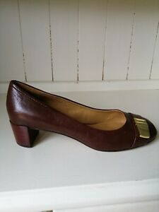 NINE WEST Shoes UK 8 Brown Leather flat Court Gold Buckle 60s retro style