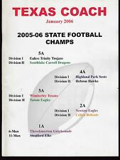 2006 Texas Coach Magazine January State Football Champs 19265