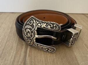 James Reid Sterling Silver 925 Belt Buckle Black Leather Belt Size 37 Santa Fe
