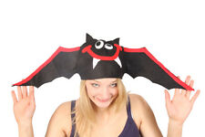 FLYING VAMPIRE BLACK BAT SILLY NOVELTY HAT HALLOWEEN FUN