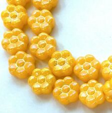 25 Czech Glass Daisy Flower Beads - Yellow - Luster 8mm