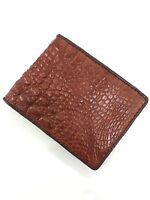 Red Brown Genuine Alligator Crocodile Skin Leather Men's Bifold Wallet