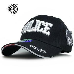 Police baseball cap adjustable hat black unisex Sport Outdoor Travel