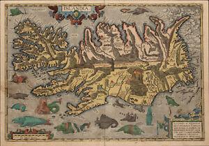 A3 Print - Viking Map of Iceland Islandia (Nordic Picture Asgaror Warrior Odin)