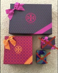 Lot of 2 Tory Burch Gift Boxes w/ Ribbons