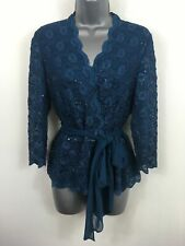 BNWT WOMENS JACQUES VERT PERSIAN BLUE LACE SEQUINS WRAP BELTED BLOUSE TOP UK 10