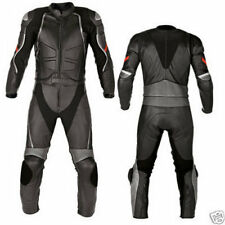New Mens Full Black Motorcycle Racing Cowhide Leather 2 Piece Suit Safety Pads