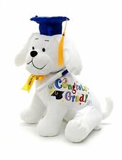 Graduation Autograph Stuffed Dog With Pen, Blue Hat - Congrats Grad! 10.5""