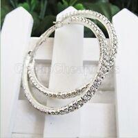 Women Silver Plated Diamante Crystal Rhinestone Big Hoop Circle Earrings sT