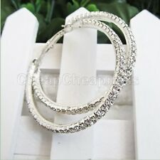 Women Silver Plated Diamante Crystal Rhinestone Big Hoop Circle Earrings DSUK