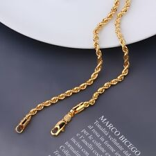 "9ct 9K Yellow ""Gold Filled"" Men Girl Rope Various Size NECKLACE CHAIN. W=2,3,4mm"