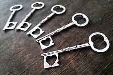 "Skeleton Key Pendant Heart 2.4"" Antiqued Silver Steampunk Vintage Wedding 1pc"
