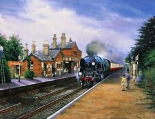 BEAUTIFUL PRINT PICTURE PAINTING BODMIN AT ROPLEY STEAM TRAIN LOCOMOTIVE RAILWAY