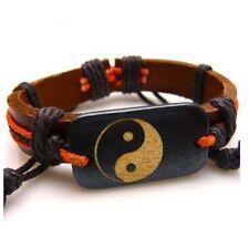 Original de cáñamo de cadena y cuero marrón, Yin Yang Tai Chi Pulsera Taoísmo Unisex Para Hombre
