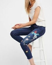 Free People Embroidered Bird Jeans size 27 NWT
