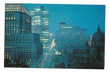 Vintage Chrome Canada Postcard Montreal Night View Dorchester Street Looking Eas