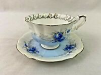 Royal Albert England Tea Cup Saucer Rose Marie Series Starlight Blue White