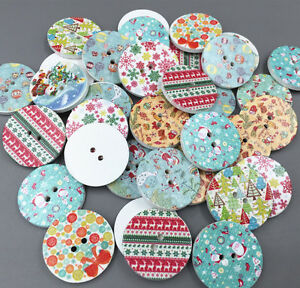 100X Christmas pattern Round Wooden Buttons decoration sewing scrapbooking 25mm