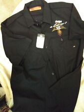 New Dickies Black Rat Fink Work Shirt with Pinstriping on back size XL