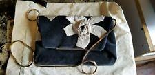 authentic vintage Lanvin Paris black velour handbag, gold snake chain & dust bag