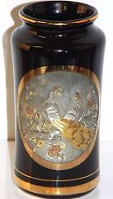 """Art of Chokin Peacock Vase 24K Gold Edge Silver Engraved Made in Japan 6"""" Tall"""