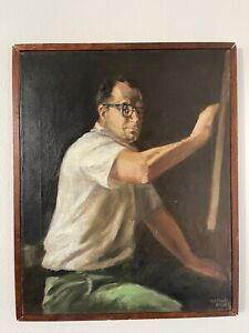 Raphael Soyer, Portrait Man Drawing Painting Oil on Canvas signed Framed