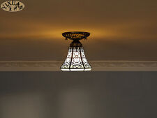 Tiffany Style Flushmount Stained Glass Ceiling Lamp E27 Light Home Lighting