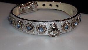 Rhinestone Elegant Silver Dog Collar Blue Crystals set in Filigrees Jewel Bling!