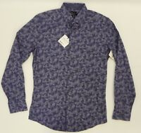 dc36f52d344 Bar III Mens Shirt Slim Fit Blue Indigo Camo Print Dress Shirt S 14 14.5 32