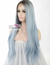 K'ryssma Blue Ombre Dark Roots Natural Straight Wig Lace Front 24inch Synthetic