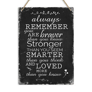 Always Remember You Are Braver Smarter Quote Metal Wall Sign Plaque Motivational