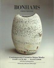 BONHAMS CONTEMPORARY CERAMICS Cardew Coper Leach Rie Ward Whiting Catalog 1998