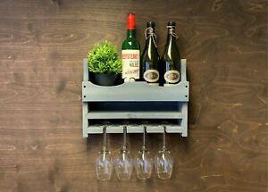 Personalised Wooden Wine Rack Bottle 4 Glass Holder Grey Home Bar Wall (4GR)EM