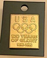 Atlanta Olympic Pin 100 YEARS OF GLORY USA Team 1896-1996 NEW UNUSED