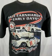 """Vtg Dale Earnhardt """"Early Days"""" Racing T-Shirt XL Black Two Sided NASCAR #3"""