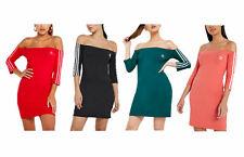 Adidas Originals Mujer fuera de la hombro Stretch Bodycon Vestido Mini Bardot
