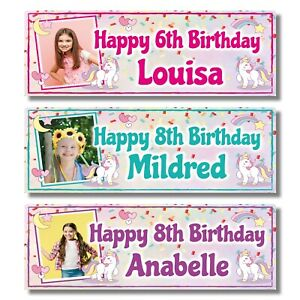 2 PERSONALISED PHOTO UNICORN BIRTHDAY BANNERS - ANY NAME/AGE - 3 COLOURS