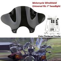 Universal Motorrad Windschild Windschutzscheibe+Montagesatz für 7'' Scheinwerfer