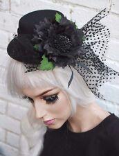 Mini chapeau haut noir fleur gothique lolita goth emo indie grunge halloween