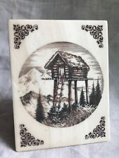 Bill Devine Signed Etched Marble Alaskan Bookend Treehouse Winter Cabin On Stilt