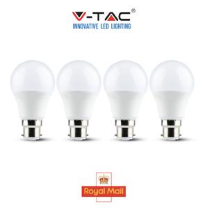 V-TAC 9W GLS LED Light Bulb Cool White 4k B22 Bayonet Very Bright A60 4 pack
