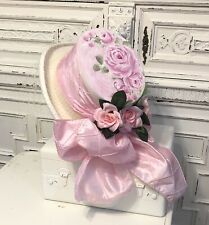 HP Shabby Roses Pink Christmas Easter Hat  Victorian Romantic Hand Painted