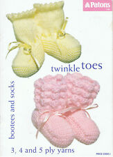 PATONS KNITTING BOOK No. C 45 TWINKLE TOES BOOTEES AND SOCKS TO KNIT/CROCHET