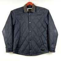 Quicksilver Men's Quilted Jacket With Corduroy Collar Size L Charcoal Gray GUC