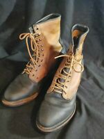 Nitro Size 10 M Brown Black Leather Boots Riding Distressed Lace Up Two Tone